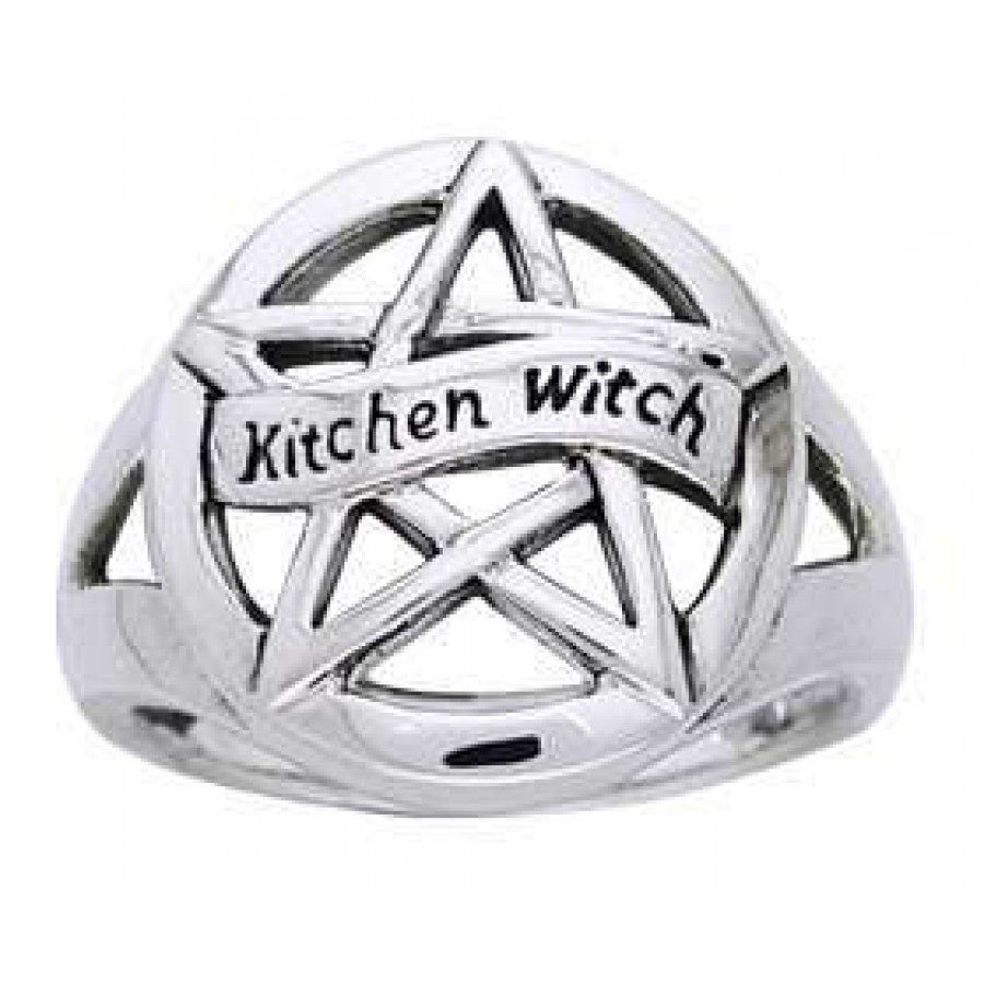 Kitchen Witch Pentacle Sterling Silver Ring   Pagan Jewelry, Wicca