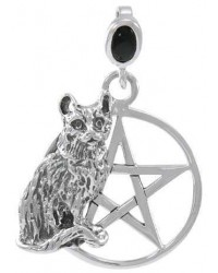 Cat Familiar Pentacle Laurie Cabot Pendant All Wicca Store Magickal Supplies Wiccan Supplies, Wicca Books, Pagan Jewelry, Altar Statues