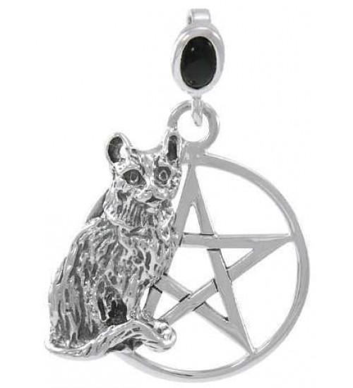 Cat Familiar Pentacle Laurie Cabot Pendant at All Wicca Store Magickal Supplies, Wiccan Supplies, Wicca Books, Pagan Jewelry, Altar Statues