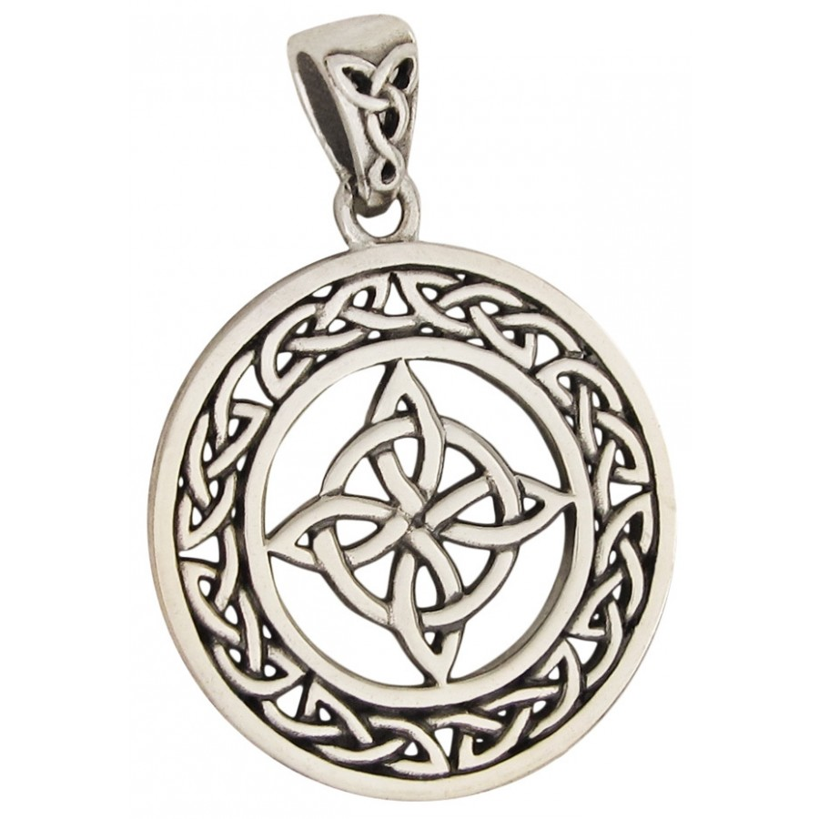 Withces Celtic Quaternary Knot Sterling Silver Pendant Pagan Jewerly