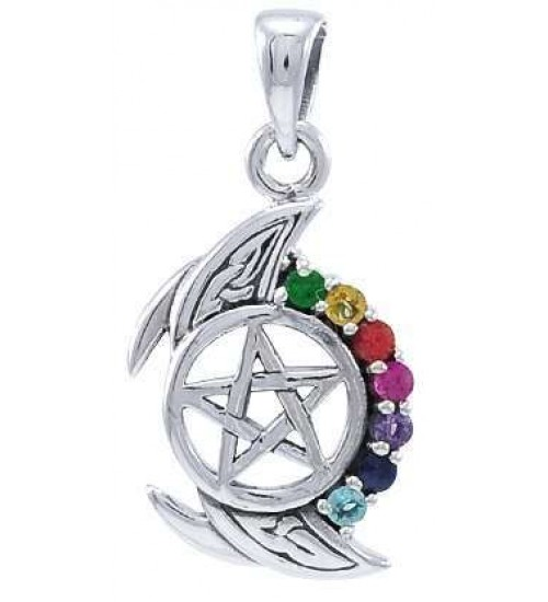 Pentagram, Crescent Moon, and Chakra Silver Pendant at All Wicca Store Magickal Supplies, Wiccan Supplies, Wicca Books, Pagan Jewelry, Altar Statues