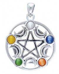 Pentacle with Gems and Moon Pendant All Wicca Store Magickal Supplies Wiccan Supplies, Wicca Books, Pagan Jewelry, Altar Statues