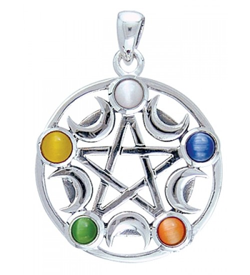Pentacle with Gems and Moon Pendant at All Wicca Store Magickal Supplies, Wiccan Supplies, Wicca Books, Pagan Jewelry, Altar Statues