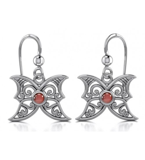 Garnet Blue Moon Silver Earrings at All Wicca Store Magickal Supplies, Wiccan Supplies, Wicca Books, Pagan Jewelry, Altar Statues