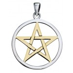 Pentagram Silver and Gold Pendant