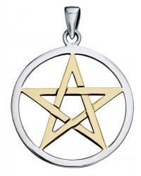 Pentagram Silver and Gold Pendant All Wicca Store Magickal Supplies Wiccan Supplies, Wicca Books, Pagan Jewelry, Altar Statues