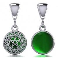 Celtic Hidden Pentacle Sterling Silver Emerald Pendant