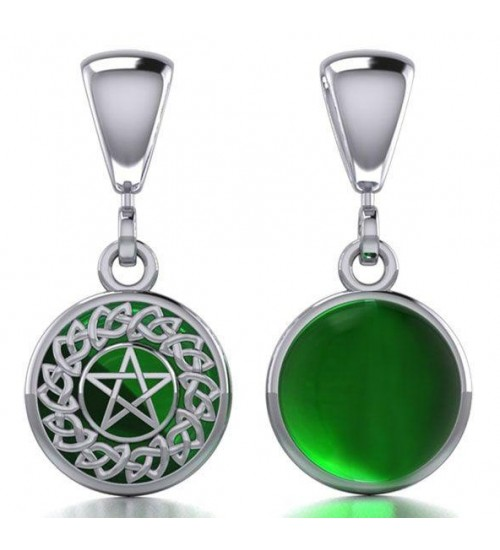 Celtic Hidden Pentacle Sterling Silver Emerald Pendant at All Wicca Store Magickal Supplies, Wiccan Supplies, Wicca Books, Pagan Jewelry, Altar Statues