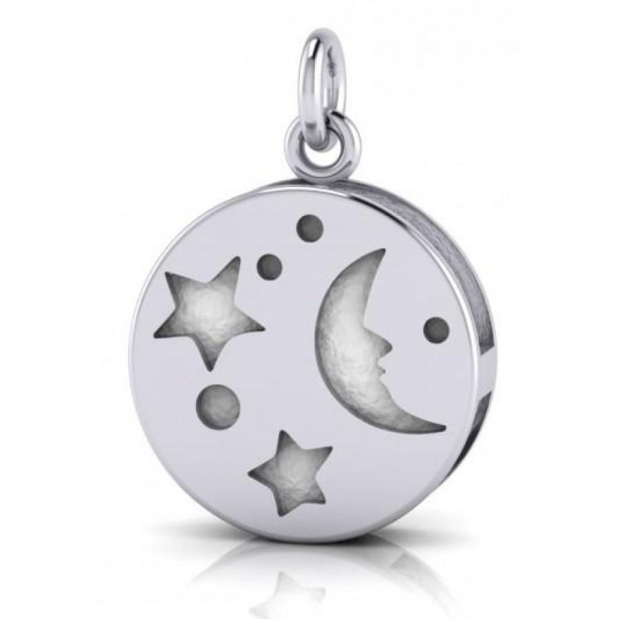 Silver Moon Aromatherapy Pendant for Essential Oils, Perfume