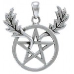 Oak Leaf Branches Pentacle Sterling Silver Pendant