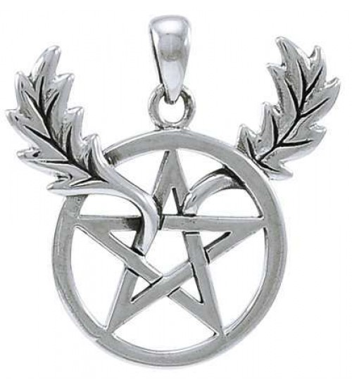 Oak Leaf Branches Pentacle Sterling Silver Pendant at All Wicca Store Magickal Supplies, Wiccan Supplies, Wicca Books, Pagan Jewelry, Altar Statues