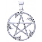 Oak Leaf Pentacle Sterling Silver Pendant