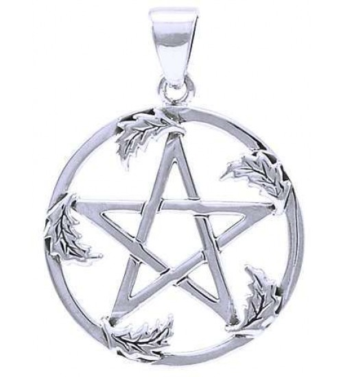 Oak Leaf Pentacle Sterling Silver Pendant at All Wicca Store Magickal Supplies, Wiccan Supplies, Wicca Books, Pagan Jewelry, Altar Statues