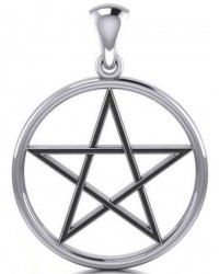 Black Pentagram Sterling Silver Pendant