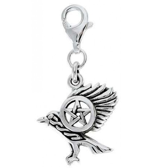 Raven Pentacle Mystical Clip On Charm at All Wicca Store Magickal Supplies, Wiccan Supplies, Wicca Books, Pagan Jewelry, Altar Statues