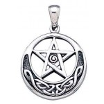 Spiral Pentacle Sterling Silver Pentagram Pendant