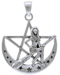 Witchy Broom Pentacle Sterling Silver Pendant All Wicca Store Magickal Supplies Wiccan Supplies, Wicca Books, Pagan Jewelry, Altar Statues