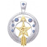 Pentacle Gemstone Sterling and Gold Vermeil Pendant