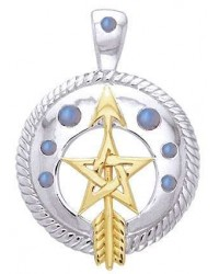 Pentacle Gemstone Sterling and Gold Vermeil Pendant All Wicca Store Magickal Supplies Wiccan Supplies, Wicca Books, Pagan Jewelry, Altar Statues