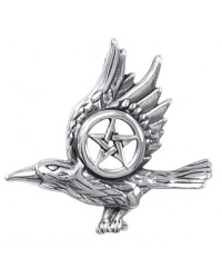 Raven with Pentagram Sterling Silver Pendant All Wicca Store Magickal Supplies Wiccan Supplies, Wicca Books, Pagan Jewelry, Altar Statues