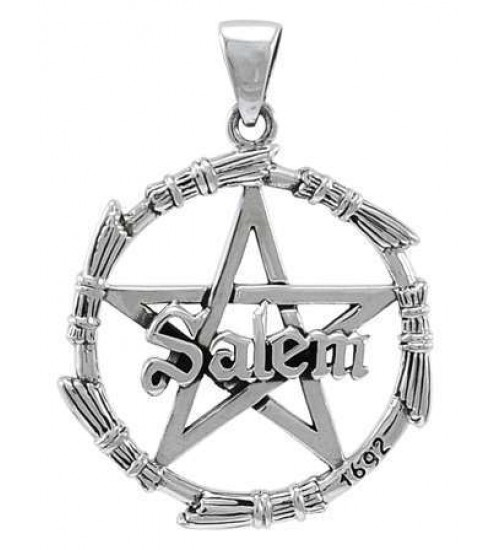 Salem Pentagram Broom Sterling Silver Pendant at All Wicca Store Magickal Supplies, Wiccan Supplies, Wicca Books, Pagan Jewelry, Altar Statues