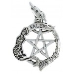 Salem Cat Pentacle Sterling Silver Pendant