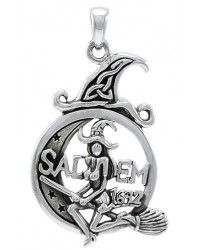 Salem Witch in Moon Sterling Silver Pendant All Wicca Store Magickal Supplies Wiccan Supplies, Wicca Books, Pagan Jewelry, Altar Statues