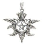 Raven Pentacle Moon Mystical Pendant