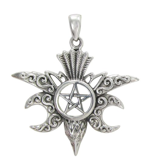 Raven Pentacle Moon Mystical Pendant at All Wicca Store Magickal Supplies, Wiccan Supplies, Wicca Books, Pagan Jewelry, Altar Statues
