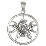 Raven Pentacle Moon Sterling Silver Pendant