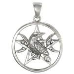 Raven Pentacle Moon Sterling Silver Pendant