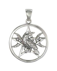 Raven Pentacle Moon Sterling Silver Pendant All Wicca Store Magickal Supplies Wiccan Supplies, Wicca Books, Pagan Jewelry, Altar Statues