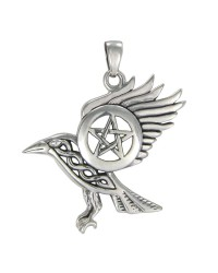 Raven Pentacle Sterling Silver Pendant All Wicca Store Magickal Supplies Wiccan Supplies, Wicca Books, Pagan Jewelry, Altar Statues