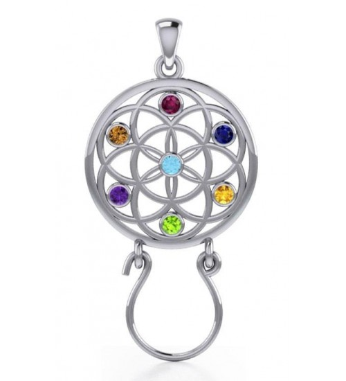 Flower of Life Charm Holder with Gemstones at All Wicca Store Magickal Supplies, Wiccan Supplies, Wicca Books, Pagan Jewelry, Altar Statues
