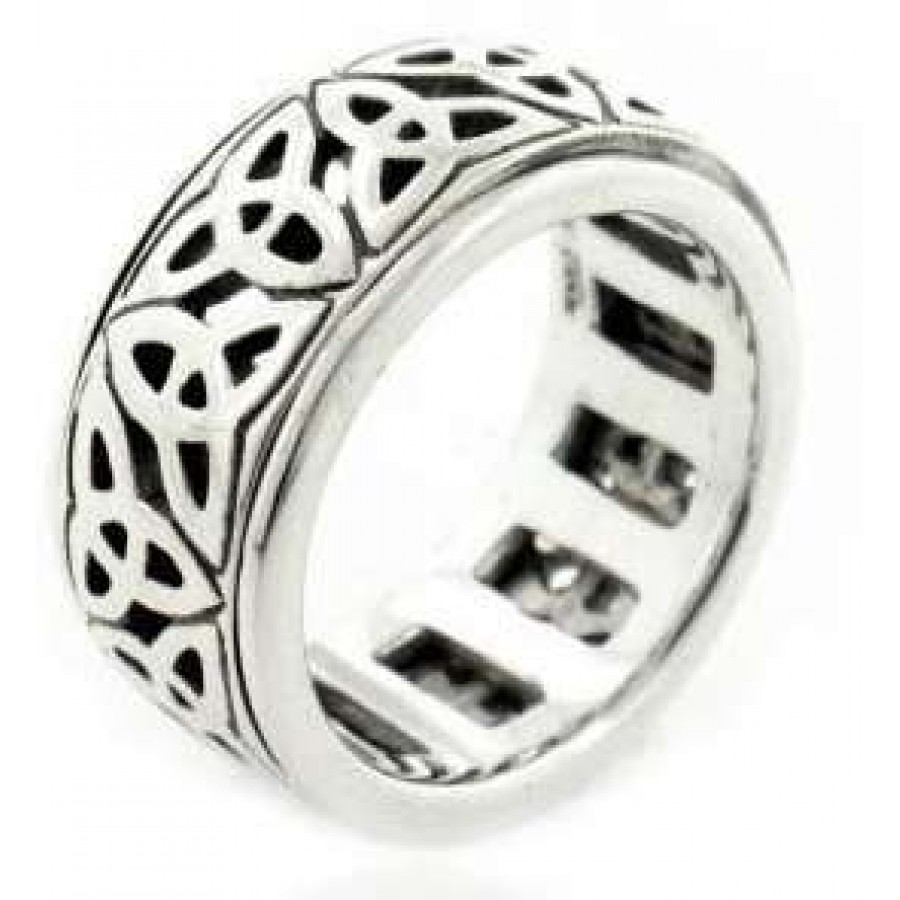 Triquetra Celtic Knot Sterling Silver Spinner Ring Wedding Jewelry