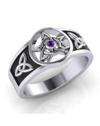 Celtic Trinity Pentacle Amethyst Ring All Wicca Store Magickal Supplies Wiccan Supplies, Wicca Books, Pagan Jewelry, Altar Statues