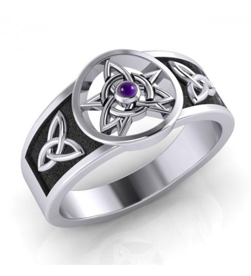 Celtic Trinity Pentacle Amethyst Ring at All Wicca Store Magickal Supplies, Wiccan Supplies, Wicca Books, Pagan Jewelry, Altar Statues