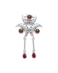 Triple Moon Pendant with Garnet Gems