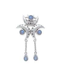 Triple Moon Pendant with Rainbow Moonstone Gems