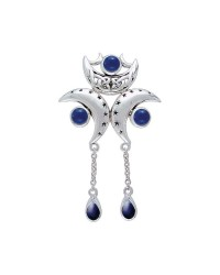Triple Moon Pendant with Sapphire Gems