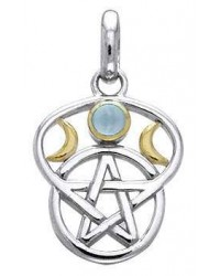 Triple Moon Pentacle Pendant with Gemstone All Wicca Store Magickal Supplies Wiccan Supplies, Wicca Books, Pagan Jewelry, Altar Statues