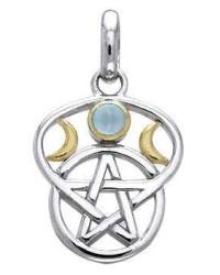 Triple Moon Pentacle Pendant with Gemstone