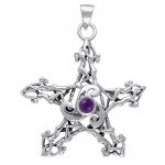 Pentacle Pendant with Triskele and Gemstone