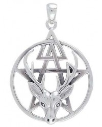 Wiccan Stag Pentacle Pendant in Sterling Silver All Wicca Store Magickal Supplies Wiccan Supplies, Wicca Books, Pagan Jewelry, Altar Statues