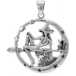Witchy Broom Rider Sterling Silver Pendant