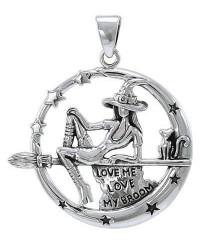 Witchy Broom Rider Sterling Silver Pendant All Wicca Store Magickal Supplies Wiccan Supplies, Wicca Books, Pagan Jewelry, Altar Statues