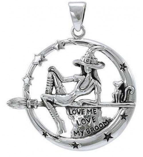 Witchy Broom Rider Sterling Silver Pendant at All Wicca Supply Shop, Wiccan Supplies, All Wicca Books, Pagan Jewelry, Wiccan Altar Statues