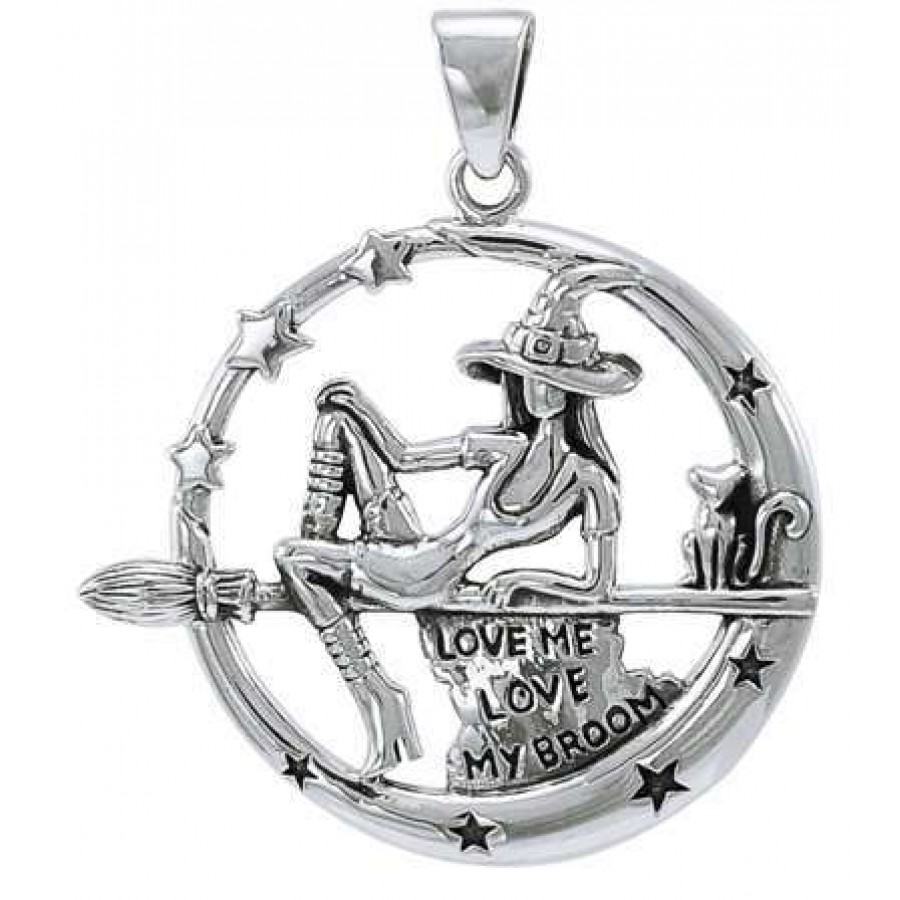 Witchy broom rider sterling silver pendant wicca witch pagan jewelry witchy broom rider sterling silver pendant at all wicca magical supplies wiccan supplies wicca aloadofball Image collections