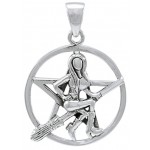 Witch Riding Broom Pentacle Sterling Silver Pendant