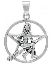 Witch Riding Broom Pentacle Sterling Silver Pendant All Wicca Store Magickal Supplies Wiccan Supplies, Wicca Books, Pagan Jewelry, Altar Statues